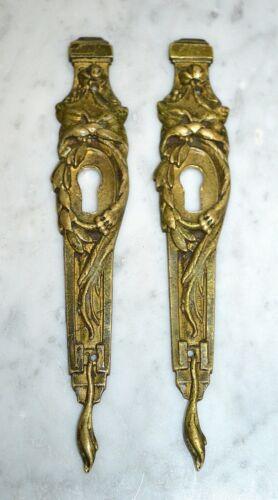 Antique French Bronze Ormolu Pair Lion Heads Laurel Wreath Keyhole Escutcheons