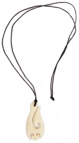 Hawaiian Hand Carved Buffalo Bone Fishing Hook Pendant Necklace Polynesian