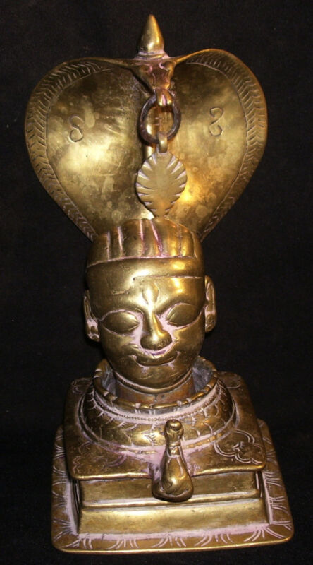 Antique Traditional Traditional Indian Ritual Brass Naga With Shiva Mukhalingam