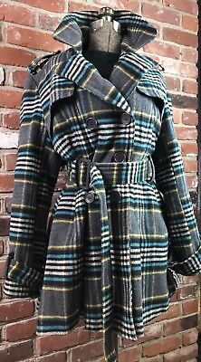 New York Yoki Plaid Coat Double Breasted Wool Tie Closure Size XL