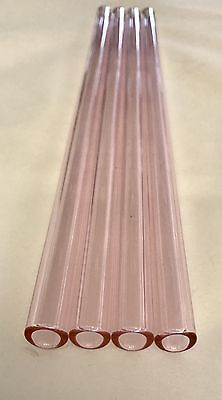 """12 mm OD 8mm ID  Pyrex Glass Blowing Tubing (4) Pcs PINK COLOR  12 """" LONG"""