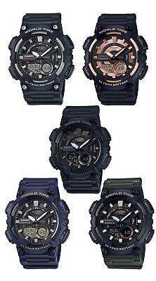 Casio Aeq110w Mens World Time Telememo Analog Digital Alarm Chrono Watch