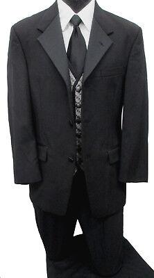 Mens Black Kenneth Cole Reaction 3 Button Tuxedo Jacket with Pants, Vest & Tie   Black 3 Button Tuxedo