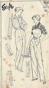 1940s Vintage Sewing Pattern B38-W32 DUNGAREES-PANTS-TROUSERS (1314)