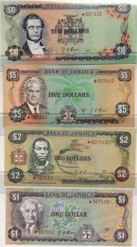 1977-STAR JAMAICA $1 $2 $5 $10 DOLLAR  ~ NICE UNC ~ PRICED RIGHT! ALL FOUR NOTES