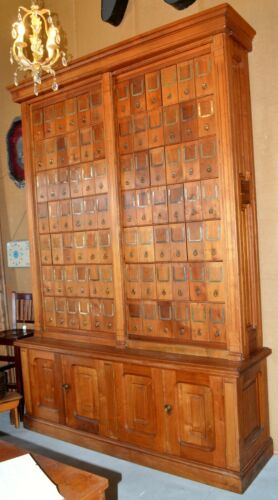 Large Vintage Oak Library Cabinet with 84 Cubbies – 9-1/2 Feet Tall