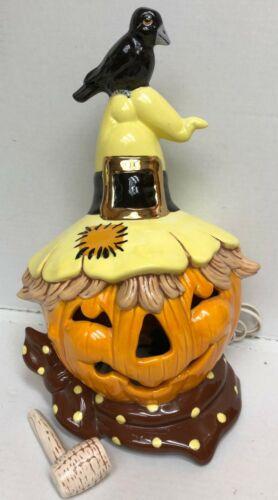 Vintage Lighted Ceramic Mold JOL Scarecrow Pipe Raven Harvest Halloween