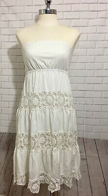 Boho Chic Festival Gypsy Lace Tube Dress Crochet Deco Woman Size Small A Line  - Lace Tube Dress