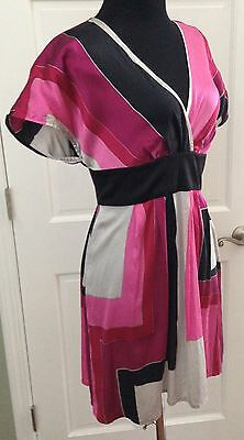 Express Sexy Party Dress SZ S Crossover Neck Silk Fun Multi-Color