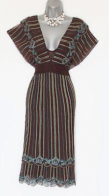 Karen Millen UK 10 Brown Embroidery Ruffle Batwing Sleeves Low V Neck Dress EU38