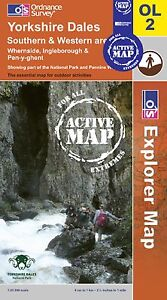 Yorkshire Dales South & West Three Peaks OL2 Explorer ACTIVE LAMINATED MAP