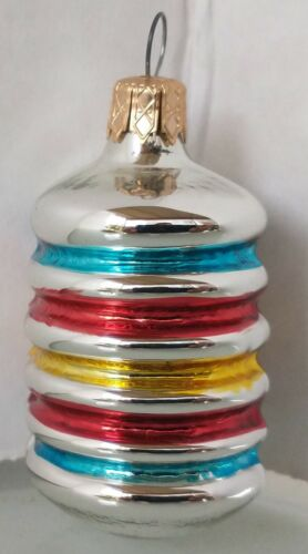 """CHEERFUL Vintage """"Colorful Barrel"""" Mercury Glass COLOMBIA Christmas Ornament"""