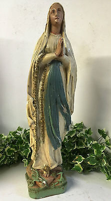 Antique Plaster Figure Virgin Mary Our Lady of Lourdes - C1920