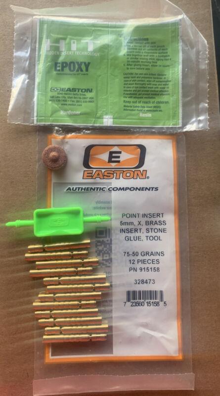 Easton Inserts HIT Brass 75-50gr fits FMJ Arrows 12pk +Insert Tool 324878 #15158