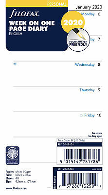 2020 Filofax Personal Week On One Page Diarycalendar - 20-68426