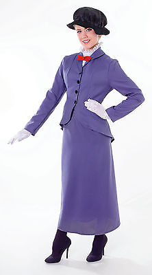 Womens Mary Poppins Fancy Dress Costume Victorian Nanny World Book Day Outfit