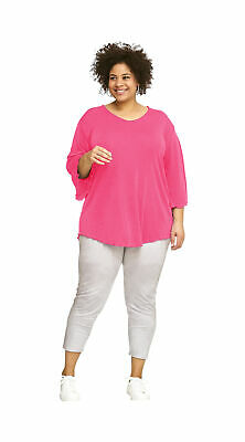 Damen Slinky (Damen Slinky Tunika Shirt Feenärmel A-Linie Plus Size Pink 3/4 Arm Hemd Bluse)