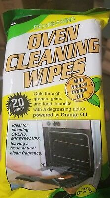 2pk DEGREASING OVEN CLEANING WIPES with natural orange oil by CADIE 20 WIPES