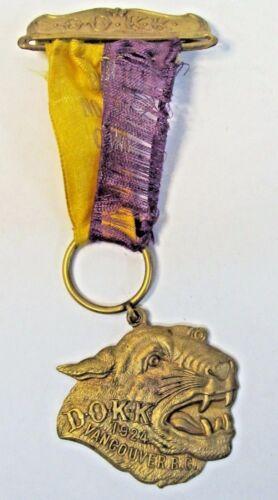 1924 D.O.K.K. KNIGHTS OF KHORASSAN Pythias CANADA pinback medal badge *