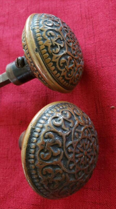 Beautiful Antique Brass Bronze Door Knobs Set Victorian Eastlake Russell Erwin