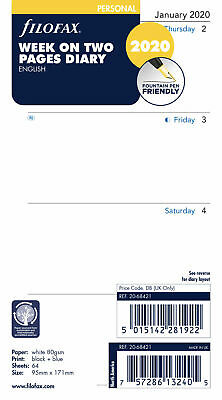 2020 Filofax Personal Size Week On Two Pages Calendar - 20-68421 - English