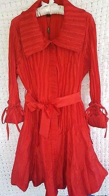Coat Dress RED satin pleated fabric with blouson hem Jerry.T Size Medium