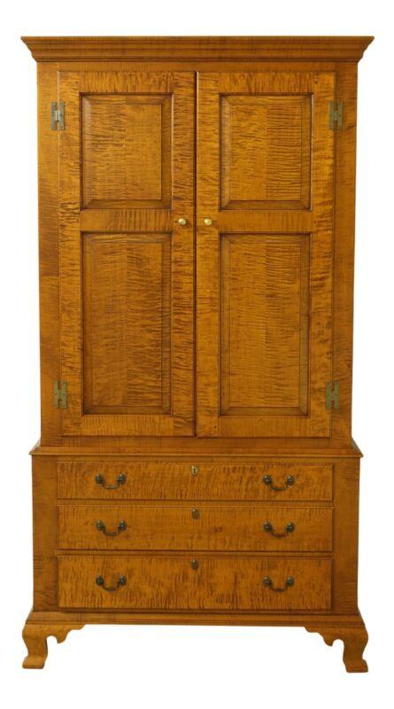 51748EC: ELDRED WHEELER Tiger Maple Armoire Linen Cabinet