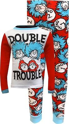 Boys' Cat in The Hat Thing 1 and Thing 2 Double Trouble Pajama Set NWT