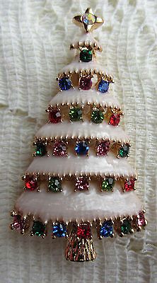 -  CHRISTMAS TREE AUSTRIAN multi colors CRYSTAL GOLD PLATE BROOCH PIN