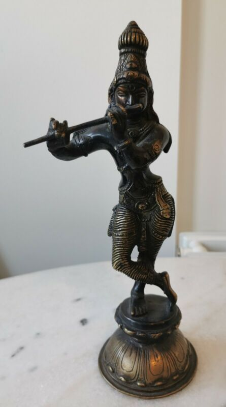 Antique large Indian Bronze Lord KRISHNA Playing Flute