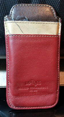 Mario Hernandez Red Brown Beige Real Leather Pouch Credit Card ID Holder Wallet