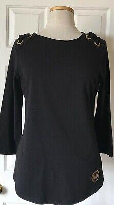NWT Womens Michael Kors MK Gold Stud Logo 3/4 Sleeve Grommet T-Shirt Top Black