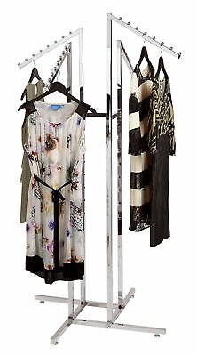 Clothing Rack 4 Way Slant Arms Chrome Clothes Adjustable Garment Retail Display