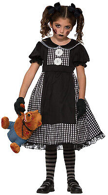 Dark Rag Doll Evil Zombie School Girl Child Halloween Fancy Dress Costume 4-12 - Dark Rag Doll Costume