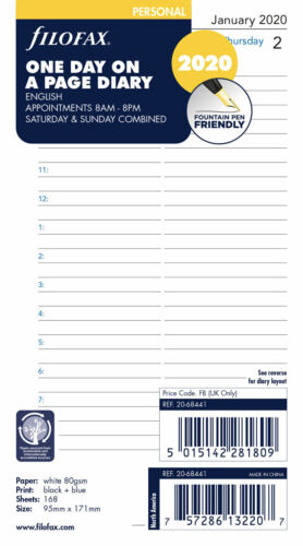 2020 FILOFAX Personal One Day Per Page Diary/Calendar-20-68441 with appointments