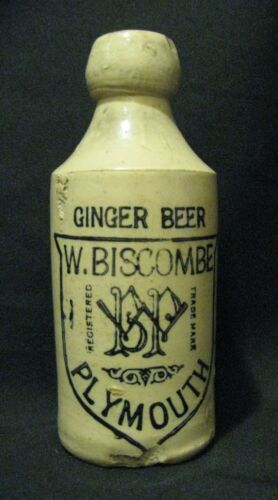 "Antique 1890s Stoneware Pottery  W. Biscombe Plymouth Ginger Beer Bottle 7"" Tall"