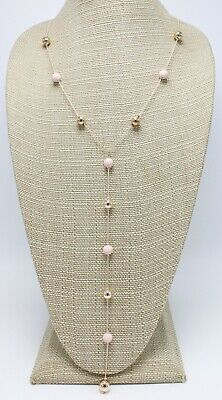 New Long Rose Gold Necklace with Subtle Pink Beads by Neiman Marcus NWT #NM16 - Gold Bead Necklaces