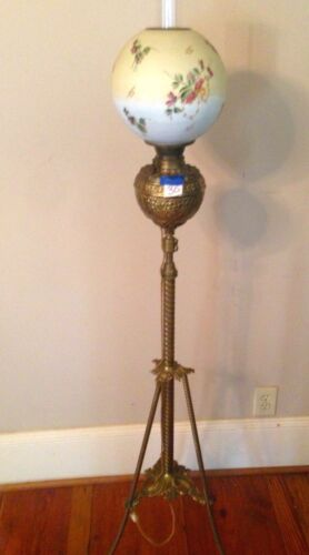 Antique Brass Piano floor  lamp standing oil  Victorian 1800