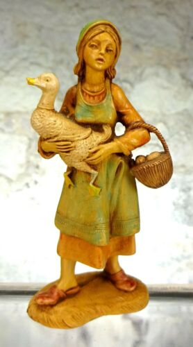 Vintage Fontanini Girl with Goose Depose Italy #110 Spider Mark
