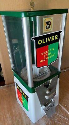 Vintage Older Oak Acorn Oliver Farm Tractor Equptment Gumball Machine Super Cool
