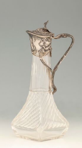 Antique tin secession carafe - original glass