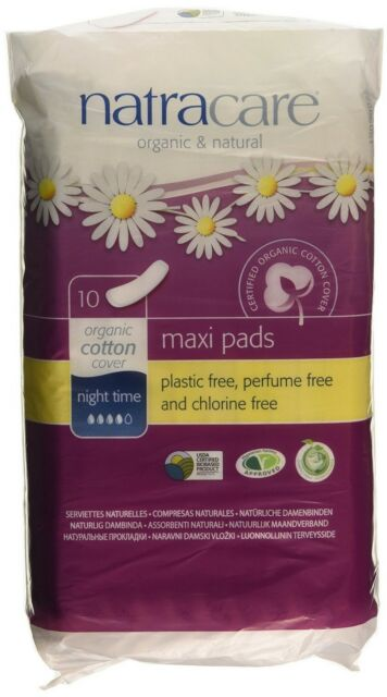 Natracare Maxi Pads Night Time Pack of 10 Organic Natural Cotton Heavy Flow
