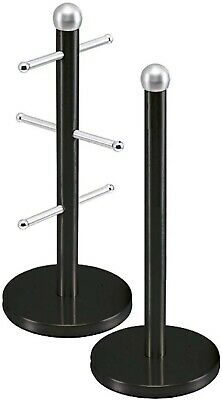 Kitchen Roll Holder Black and 6 Mug Tree Stand Stainless Steel Storage Rack