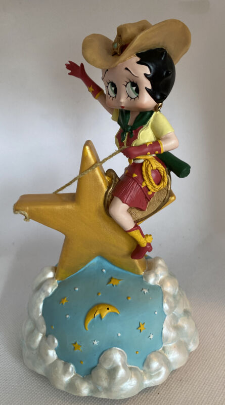 """Vandor Celestial Music Box Betty Boop Star Cowgirl Rodeo """"Don"""