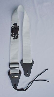 Christian Guitar Strap WHITE NYLON PRAYING HANDS Acoustic & Electric Made In USA
