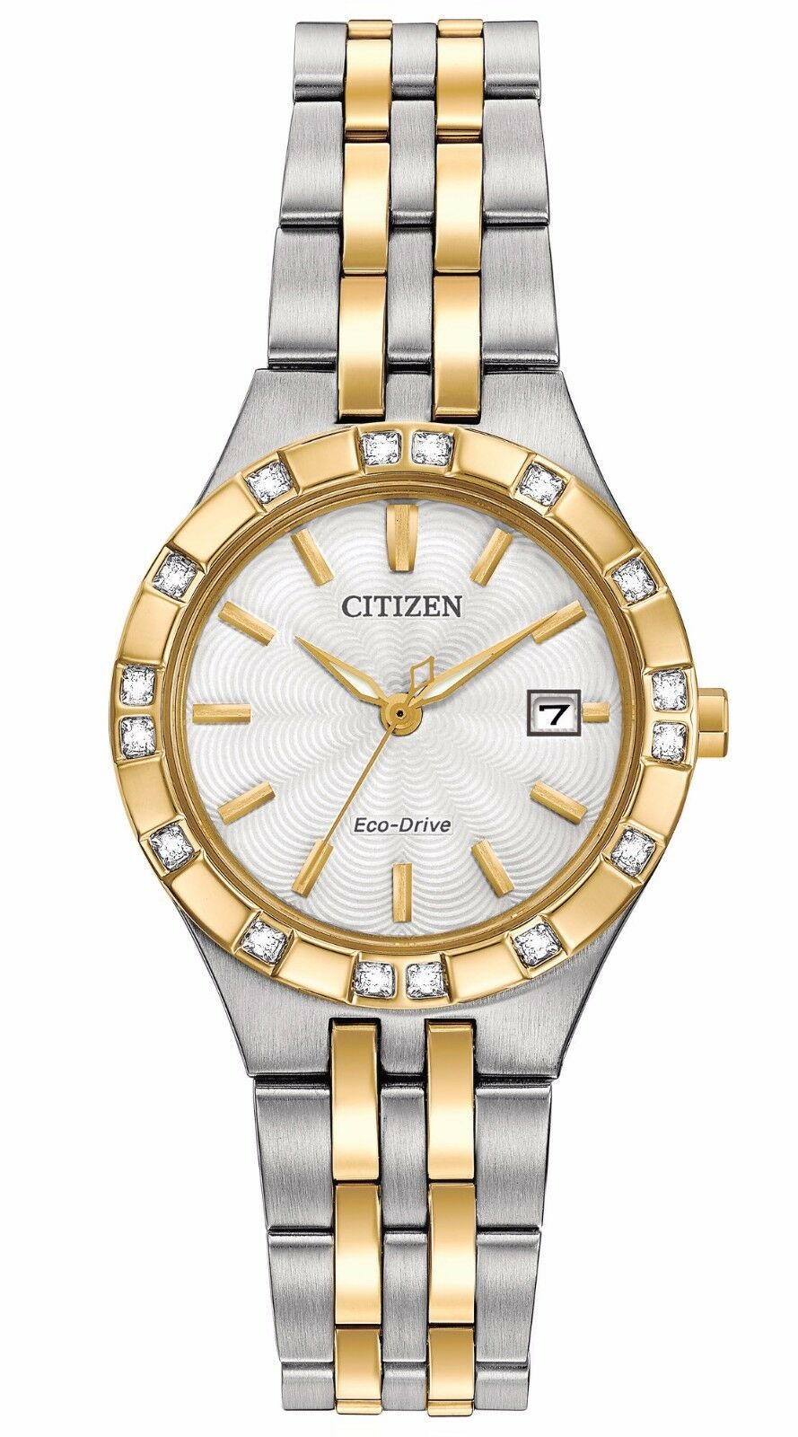 Citizen EW2334-51A Women's Diamond Accented Bezel White Dial