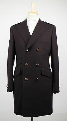 New D'AVENZA Dark Brown Wool 3/4 Length Pea Coat Size 49/39 R $3795 (Dark Brown Pea Coat)