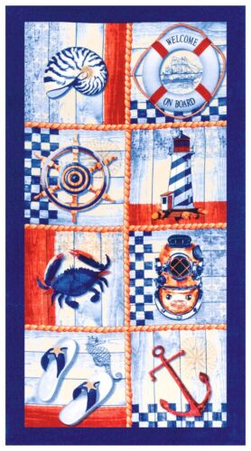 Nautical Icons Oversized Premium Velour Beach Towel