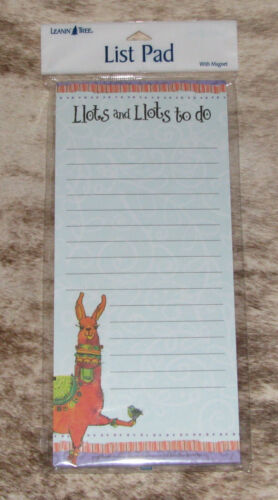 """LEANIN TREE """"Llots and Llots to do"""" Happy Llama~Magnetic List Note Pad~#61765"""