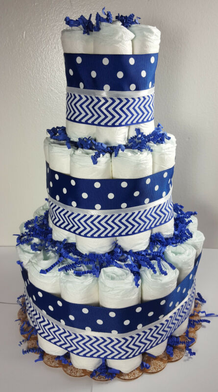 3 Tier Diaper Cake Blue Chevron & Polka Dot Boy Baby Shower Centerpiece